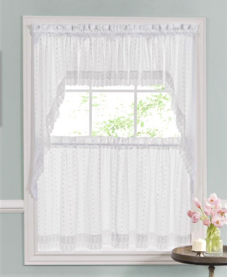 kitchen curtians 3 piece bistro set curtains tiers swags valances lace ribbon eyelet white