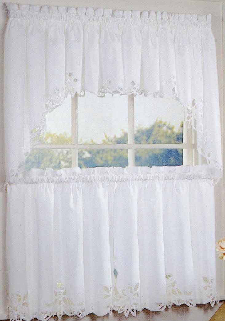 Battenburg Lace Kitchen Curtains  White  Linens4Lesscom