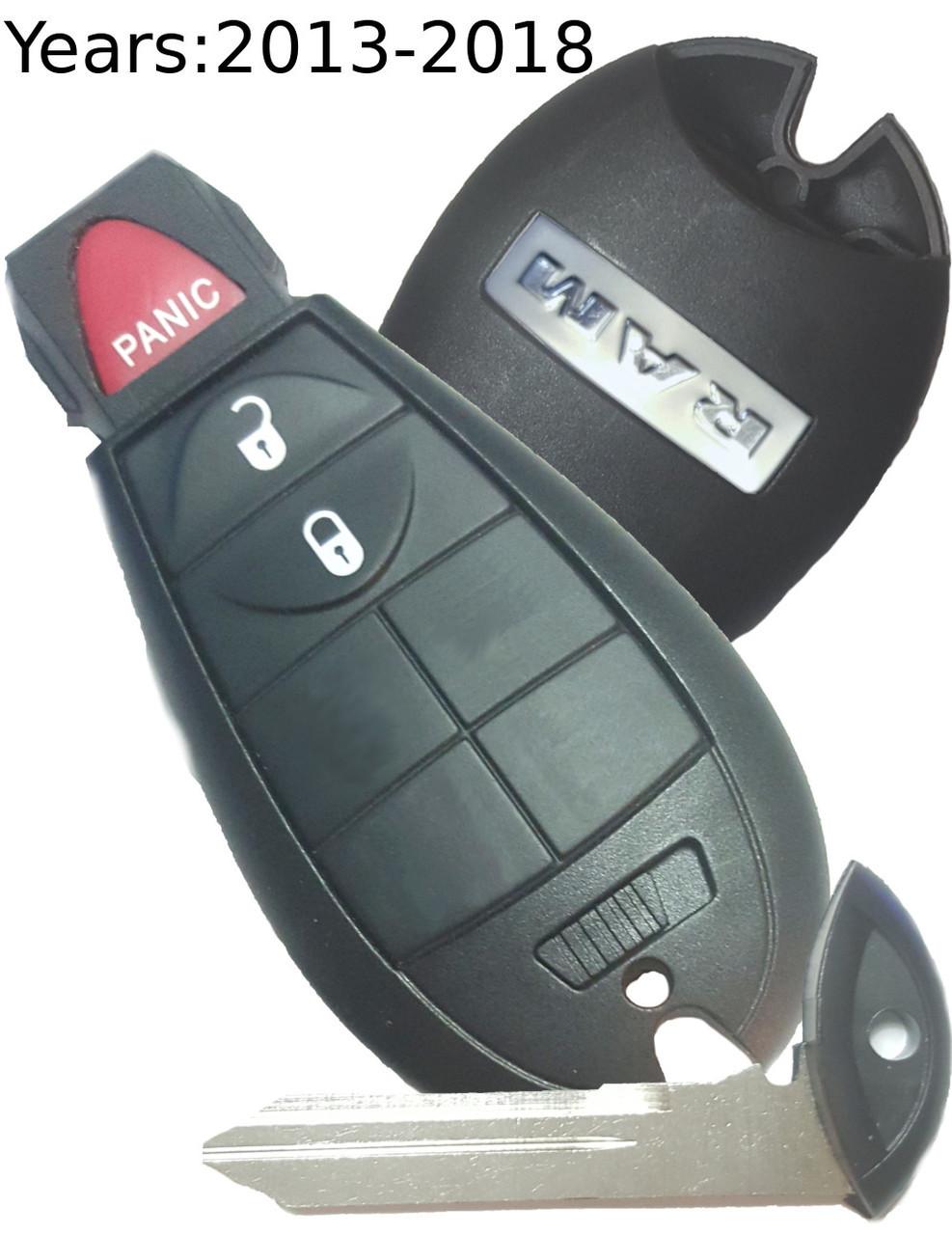 medium resolution of 2013 to 2017 dodge ram 3 button remote key