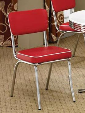 retro chrome chairs metal garden and table two 50 s style red dining