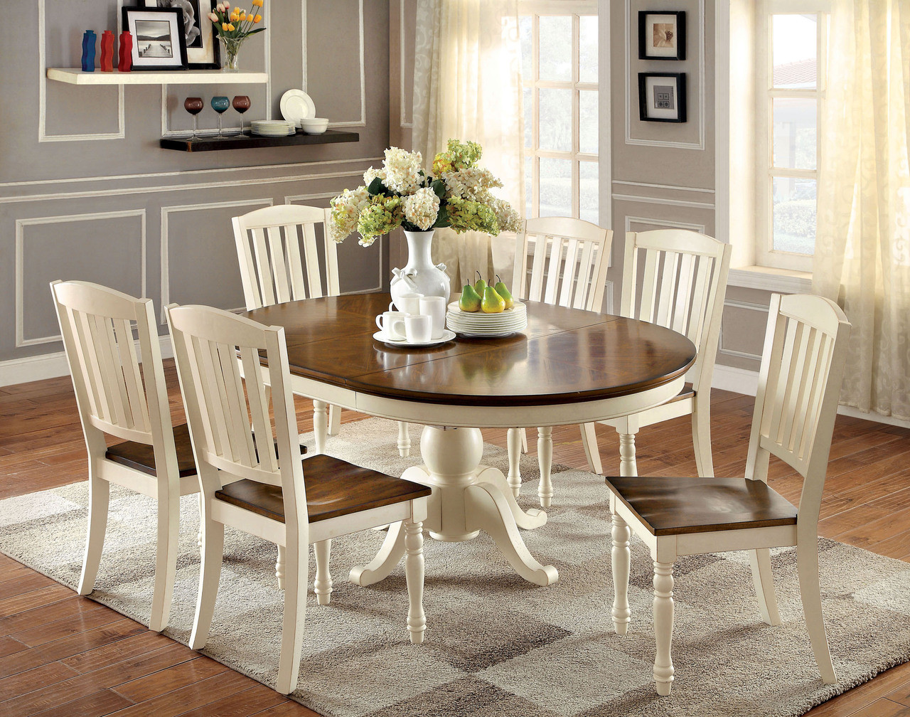 kitchen table sets value city furniture tables 66 sutton oval vintage white cherry dining set