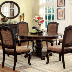 Dining Table Set 6 Chairs Diy Chair Covers Room 60 Bellagio Brown Cherry Round To Seat Seater With Fabric
