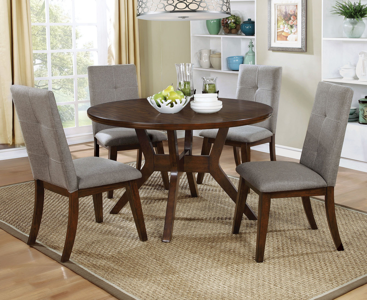 Hover Round Chairs Furniture Of America Walnut Round Dining Table Set