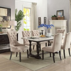 Marble Living Room Table Sets Design With No Fireplace Gerardo White Top Dining Set Acme 60820 Six Chairs