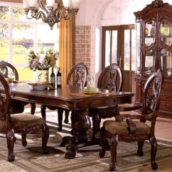 Chair Design Antique Gym Captains 120 Tuscany Cherry Formal Pedestal Dining Table Set Traditional