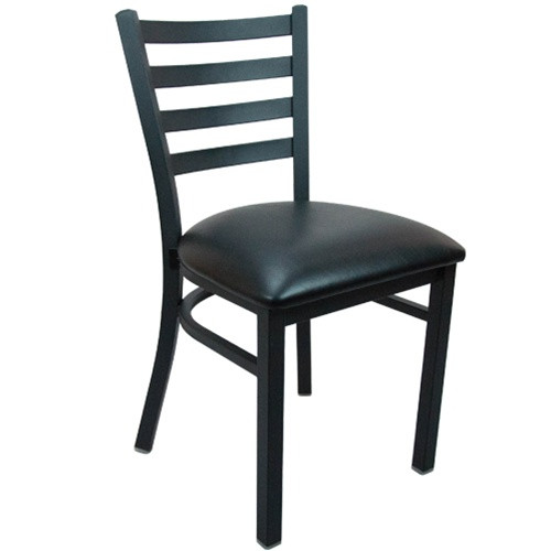 Advantage Black Metal Ladder Back Restaurant Chair