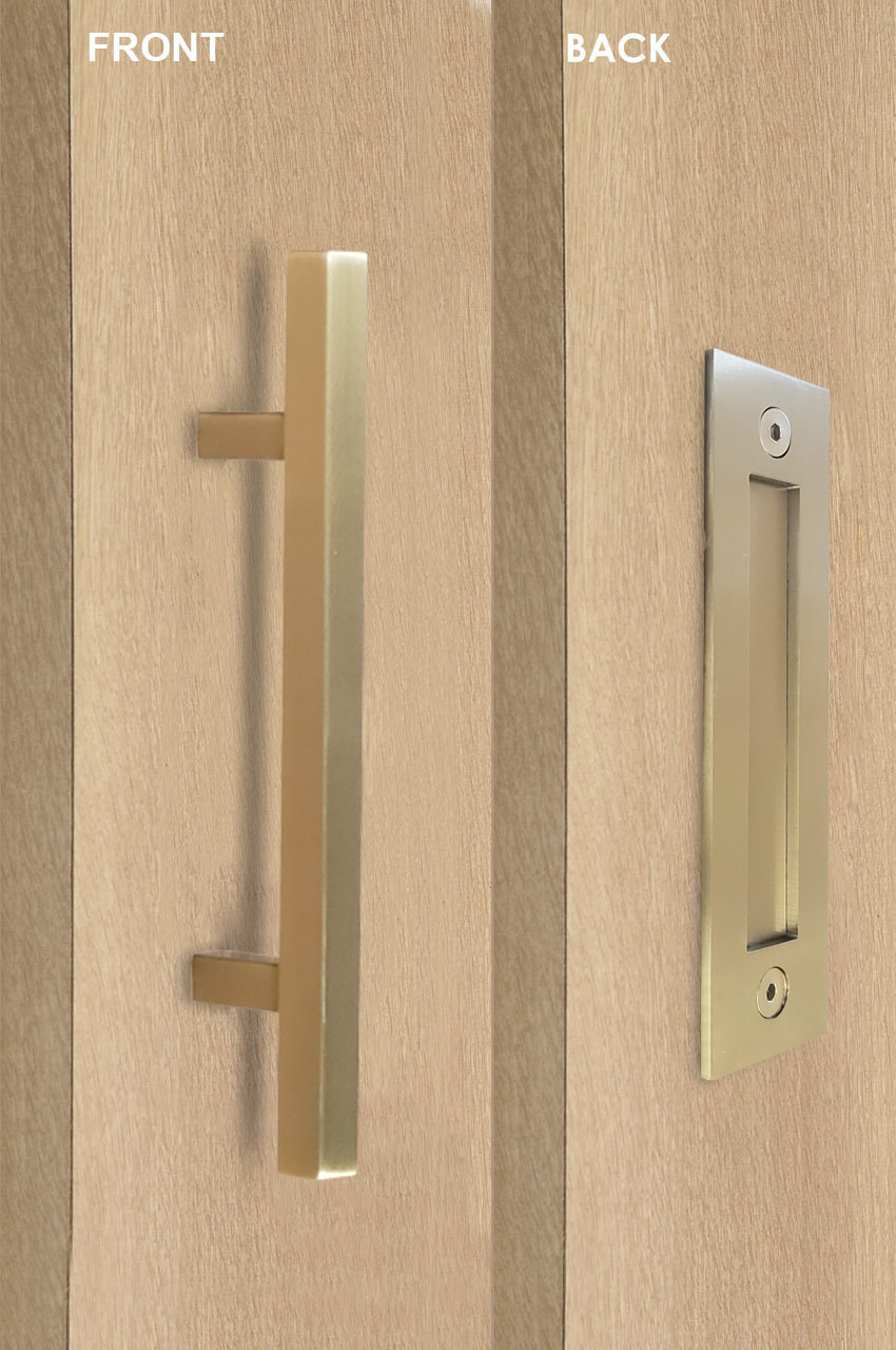 Barn Door Pull And Flush Square Door Handle Set Brass Satin Stainless Steel Finish