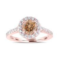 Rose Gold Champagne Diamond Engagement Ring, Fancy Brown ...