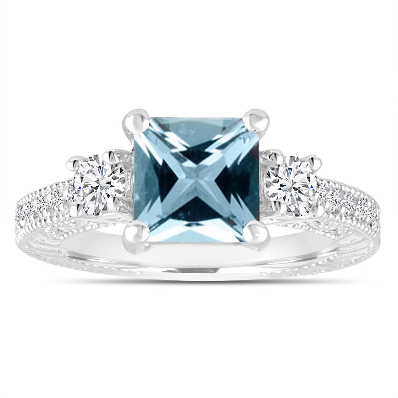 Platinum Aquamarine Engagement Ring Princess Cut