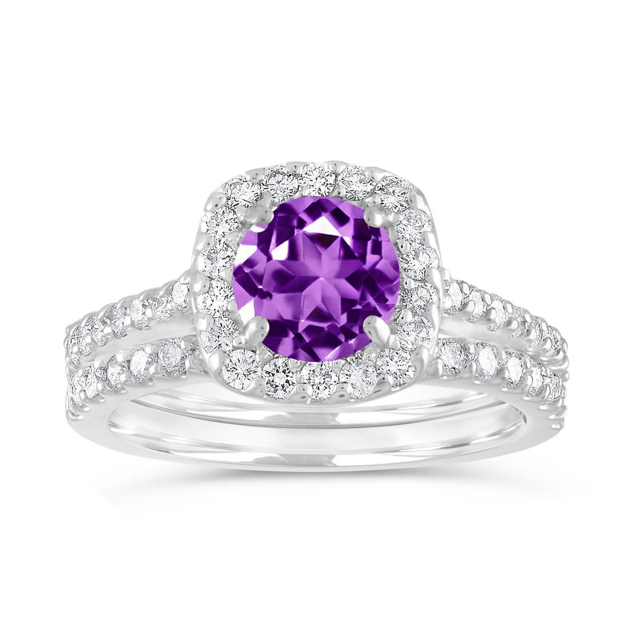 Amethyst Engagement Ring Set, Purple Amethyst and Diamonds