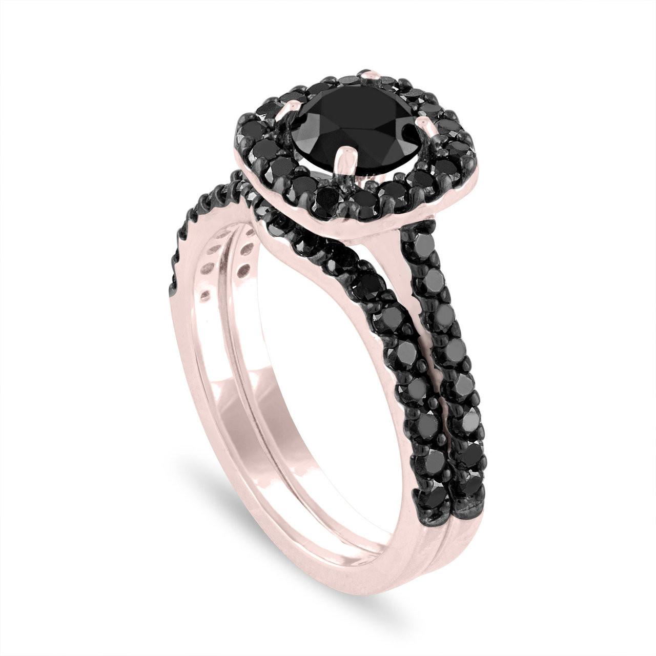 Black Diamond Engagement Ring Set Wedding Ring Sets