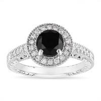 1.48 Carat Black Diamond Engagement Ring, Vintage Wedding ...
