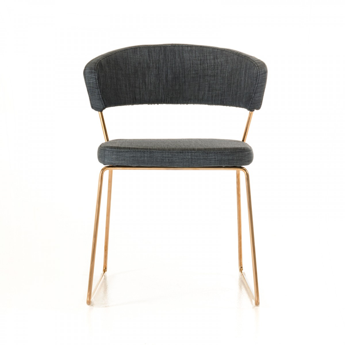 gray side chair foam for chairs rudolpho modern grey dining with rose gold fabric frame