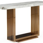 Fabrizio White Top Marble Console Table Rose Gold Console Table