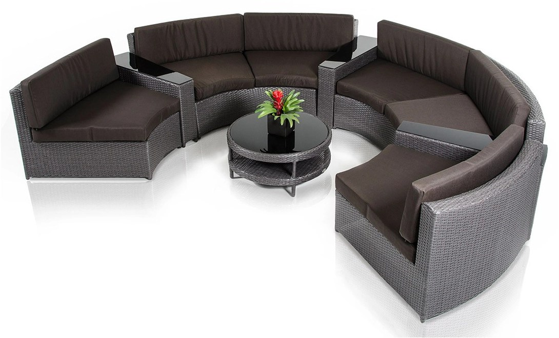 zuma brown round outdoor sectional set