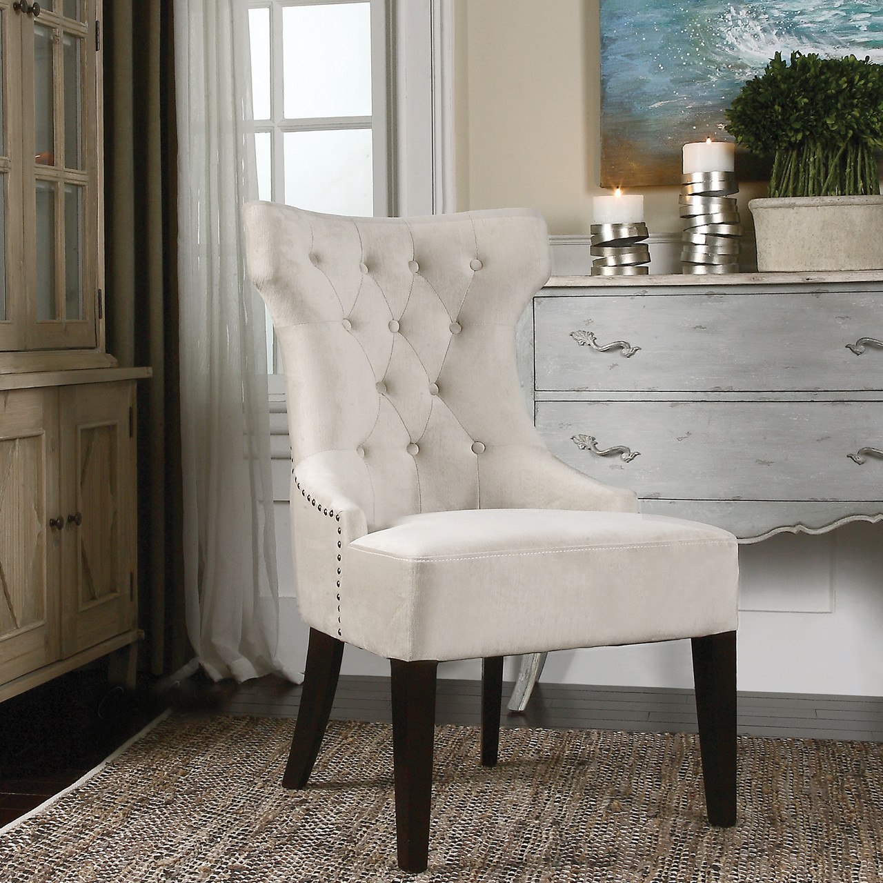 White Wing Chair Antique White Arlette Tufted Wing Chair