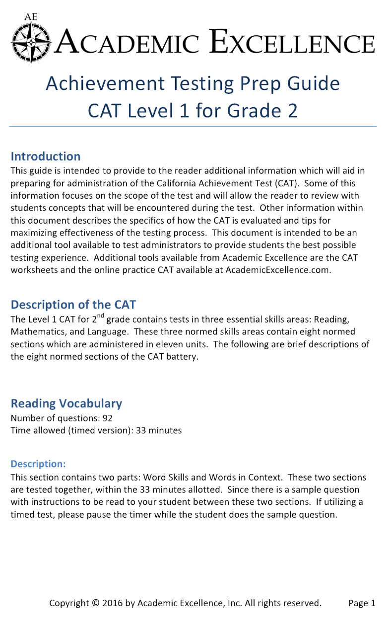 hight resolution of CAT Prep Pack: Grade 2 - PDF Download - Academic Excellence