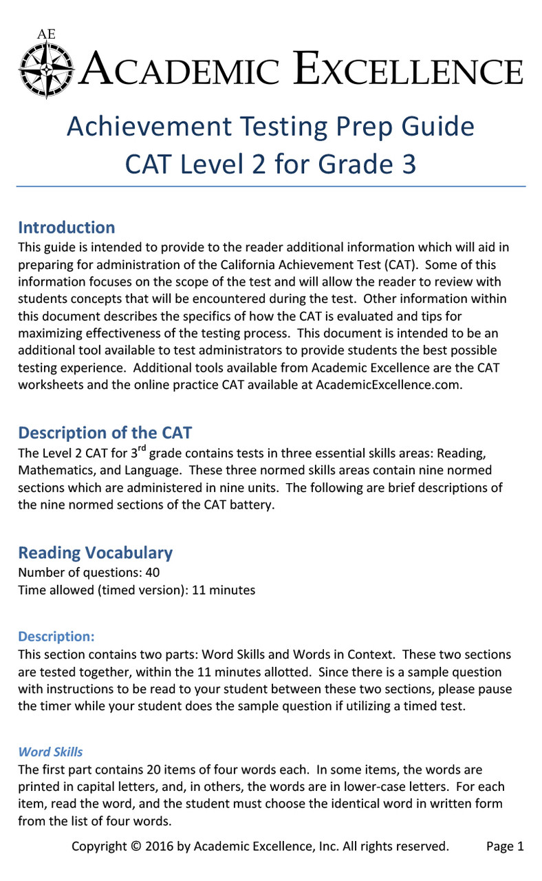 CAT Prep Pack: Grade 3 - PDF Download - Academic Excellence [ 1280 x 788 Pixel ]