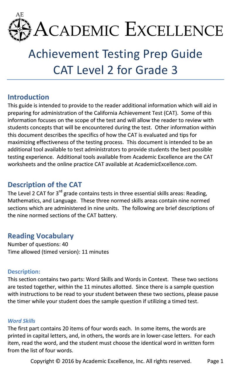 medium resolution of CAT Prep Pack: Grade 3 - PDF Download - Academic Excellence