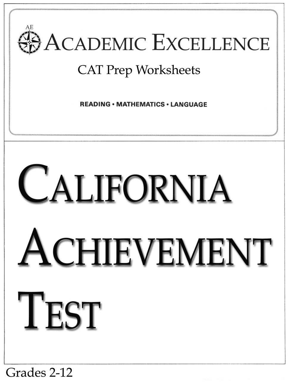 medium resolution of CAT Prep Pack: Grades 2 through 12 - PDF Download - Academic Excellence