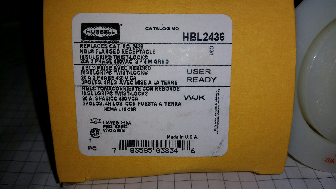 medium resolution of hubbell wiring device kellems hbl2436 flanged locking receptacle industrial grade