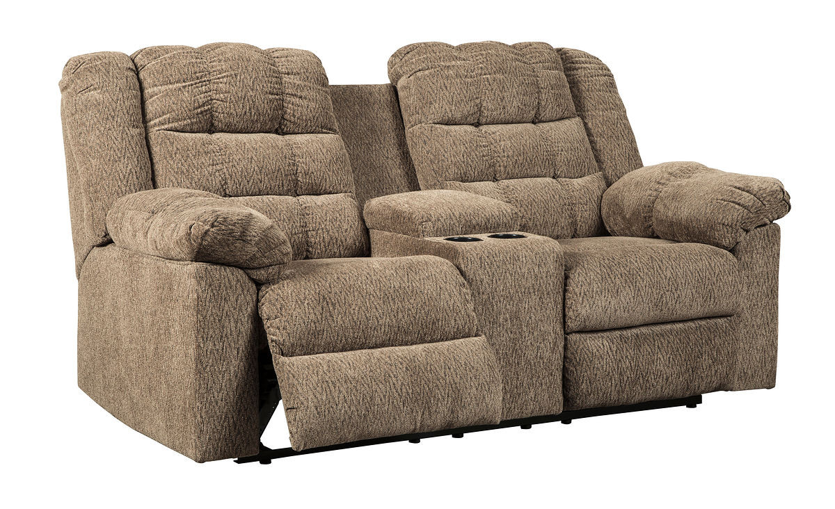 Double Recliner Chair Workhorse Cocoa Double Reclining Loveseat With Console