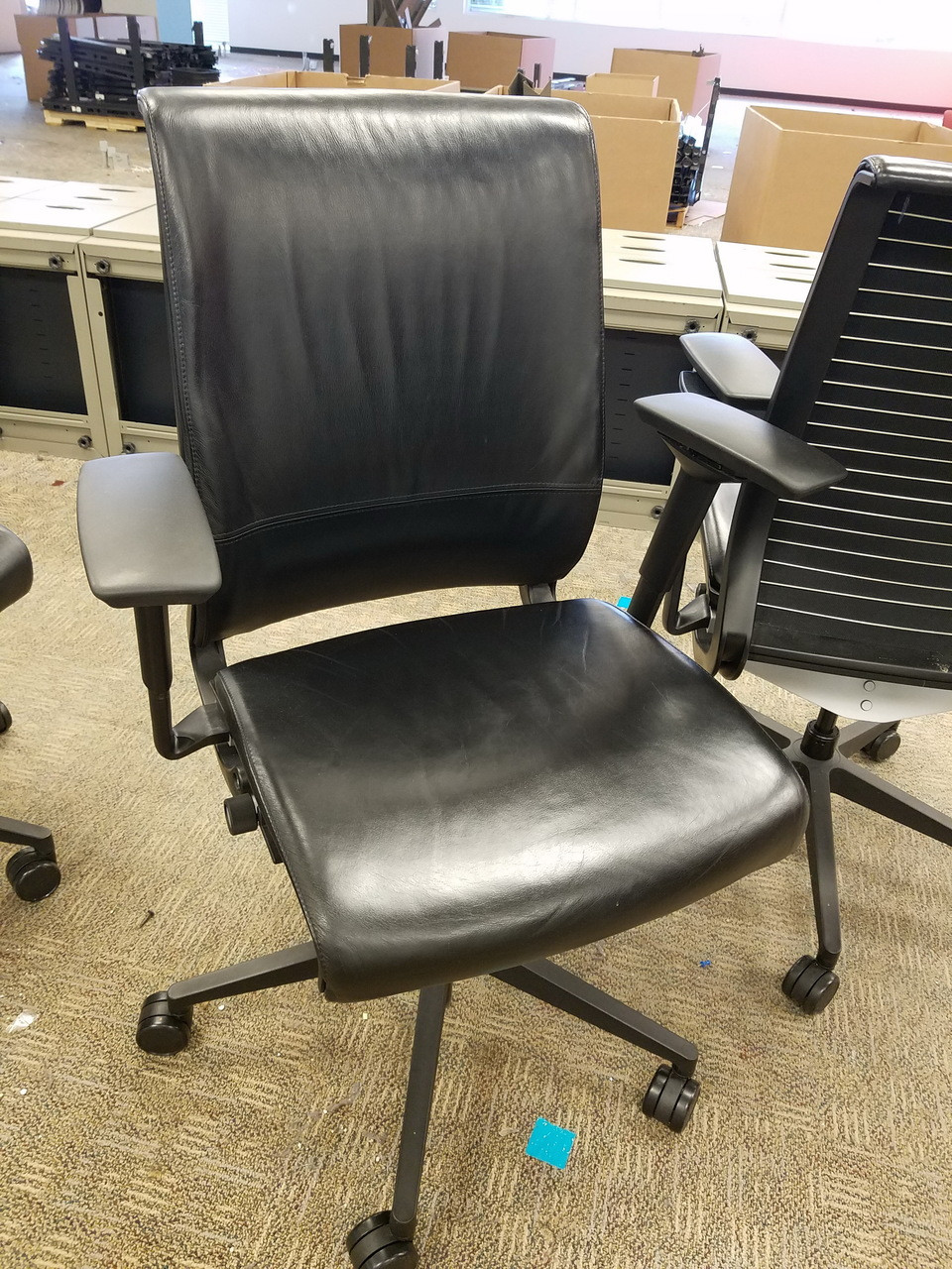 Steelcase Think Chair 12 Used Steelcase Think Black Leather Fully Adjustable Executive Or Conference Chairs