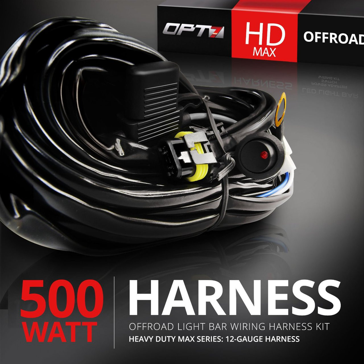small resolution of hd max led light bar wiring harness off road relay switch 40 amp 500w
