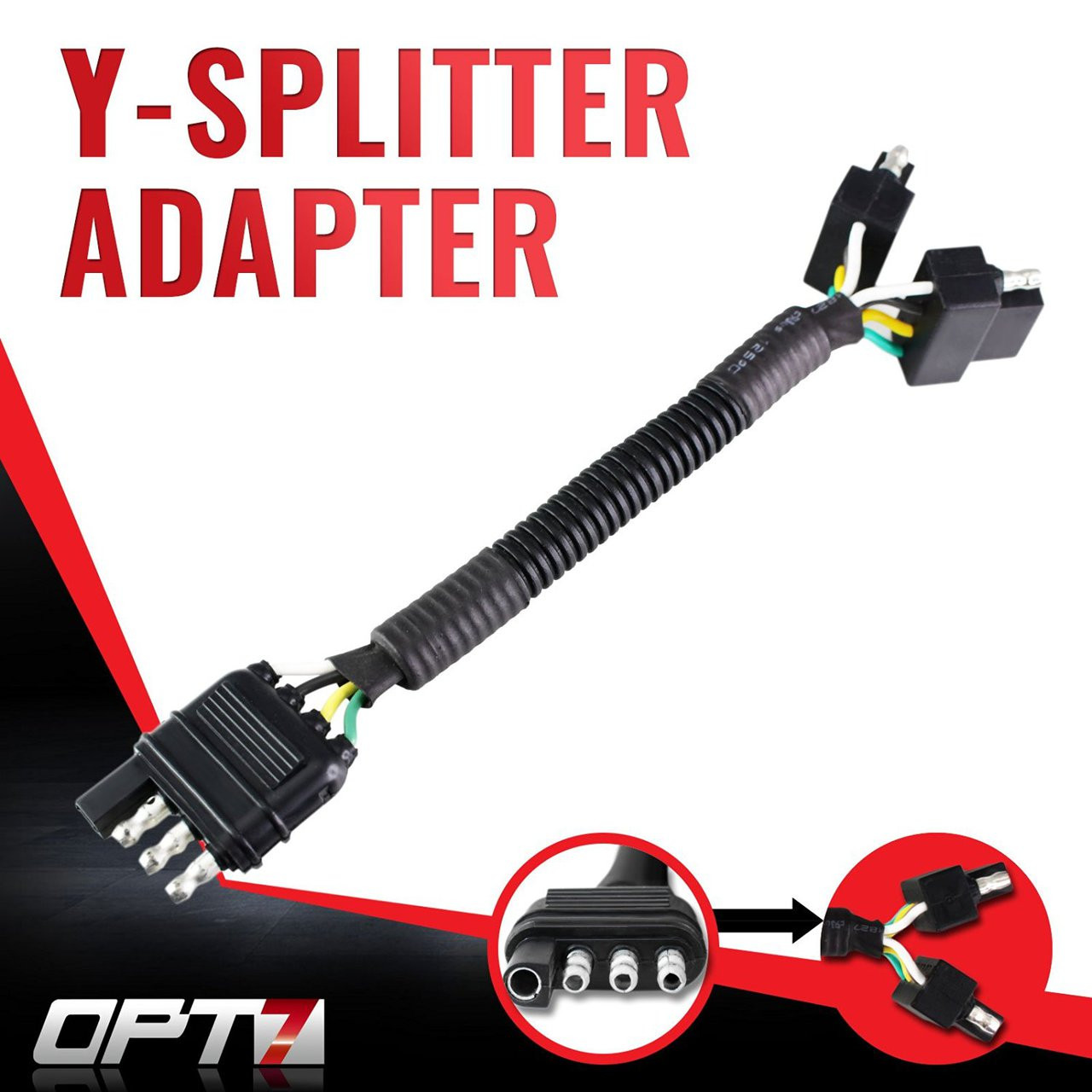 medium resolution of y splitter 4 tow pin connector adapter harness wiring for truck tailgate opt7