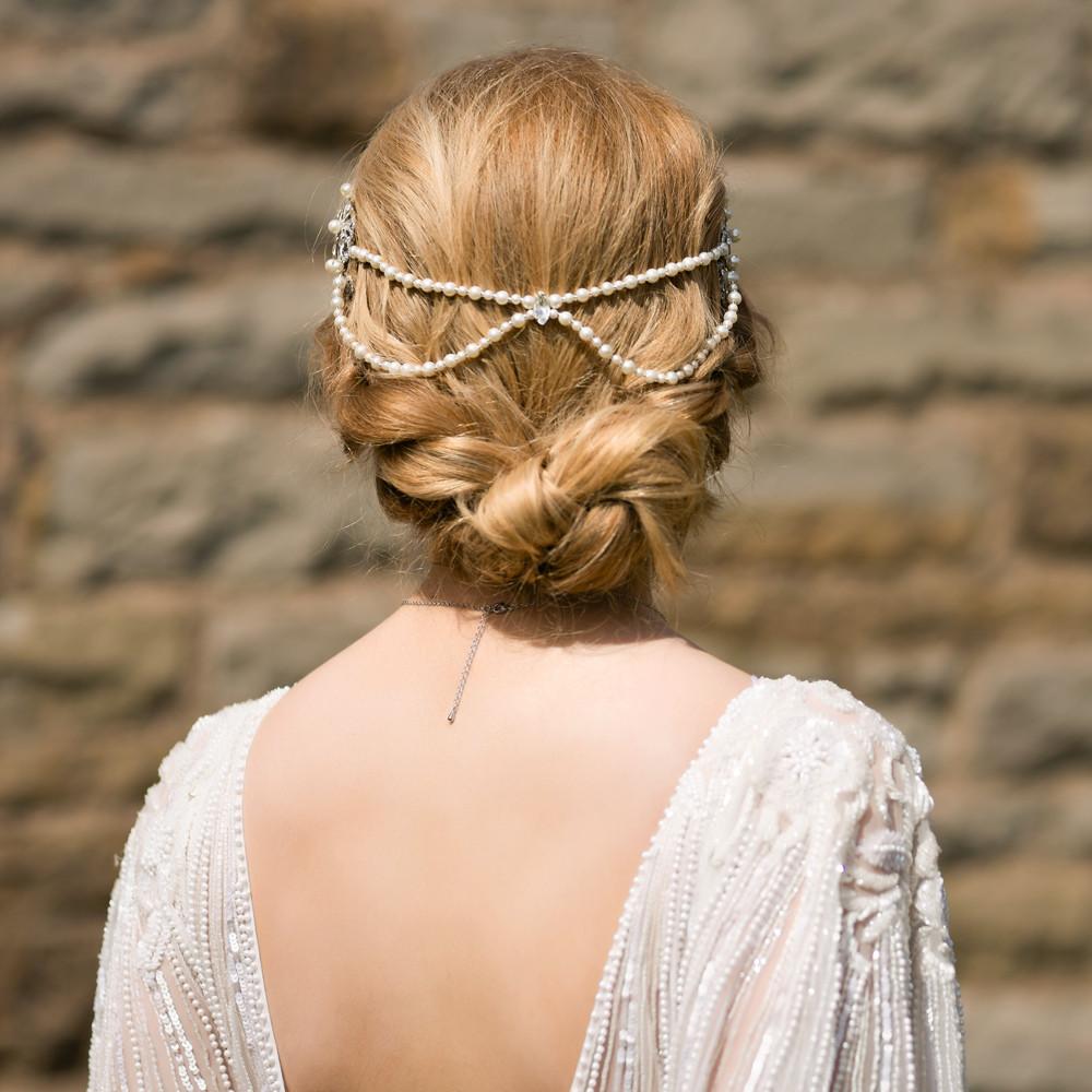 handmade art deco bridal hair chain