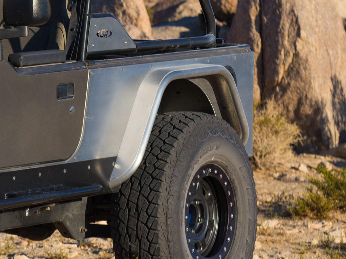 medium resolution of  4 wide aluminum rear tube fenders on a jeep lj with a 37