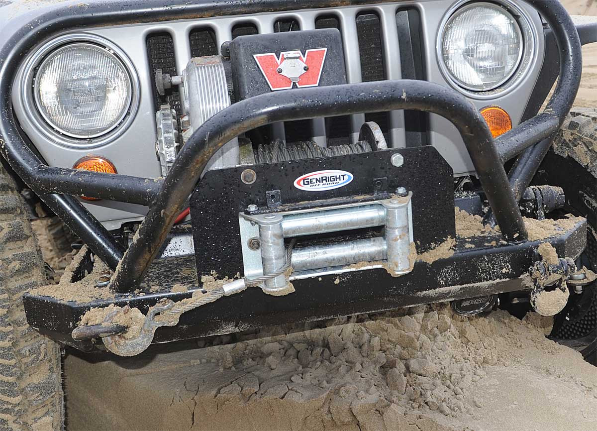 medium resolution of  bumper close up of the warn 8274 heavy duty winch mount from genright off road