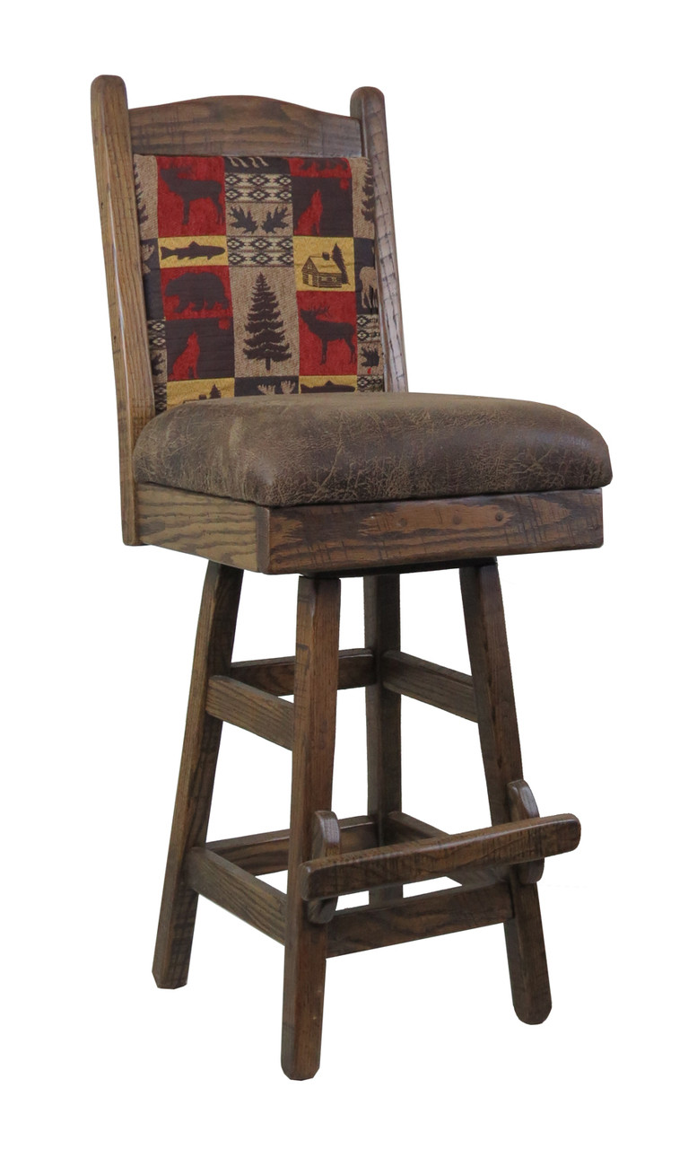 Barnwood Swivel Bar Stool 24 Or 30 Inch With Upholstered Seat Back
