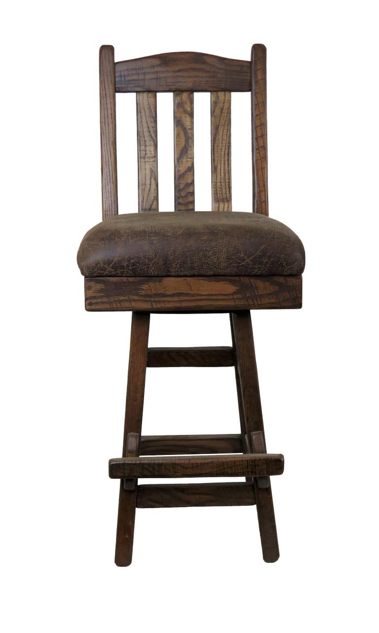 Amish Barnwood Swivel Bar Stool Slat Back With Upholstered Seat
