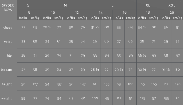 Boys  size chart also spyder charts rh shopckymountainskiandboard