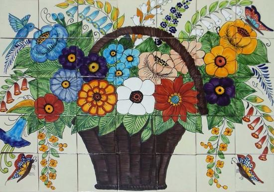 tile mural wild flower basket