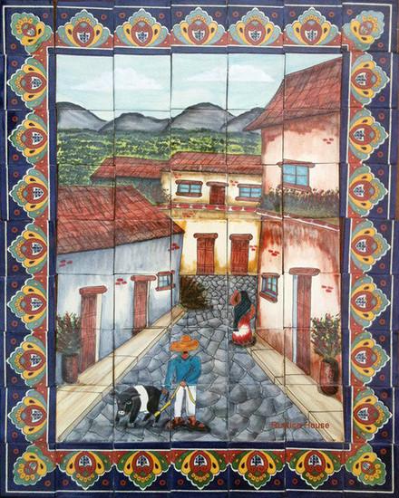 tile mural pig