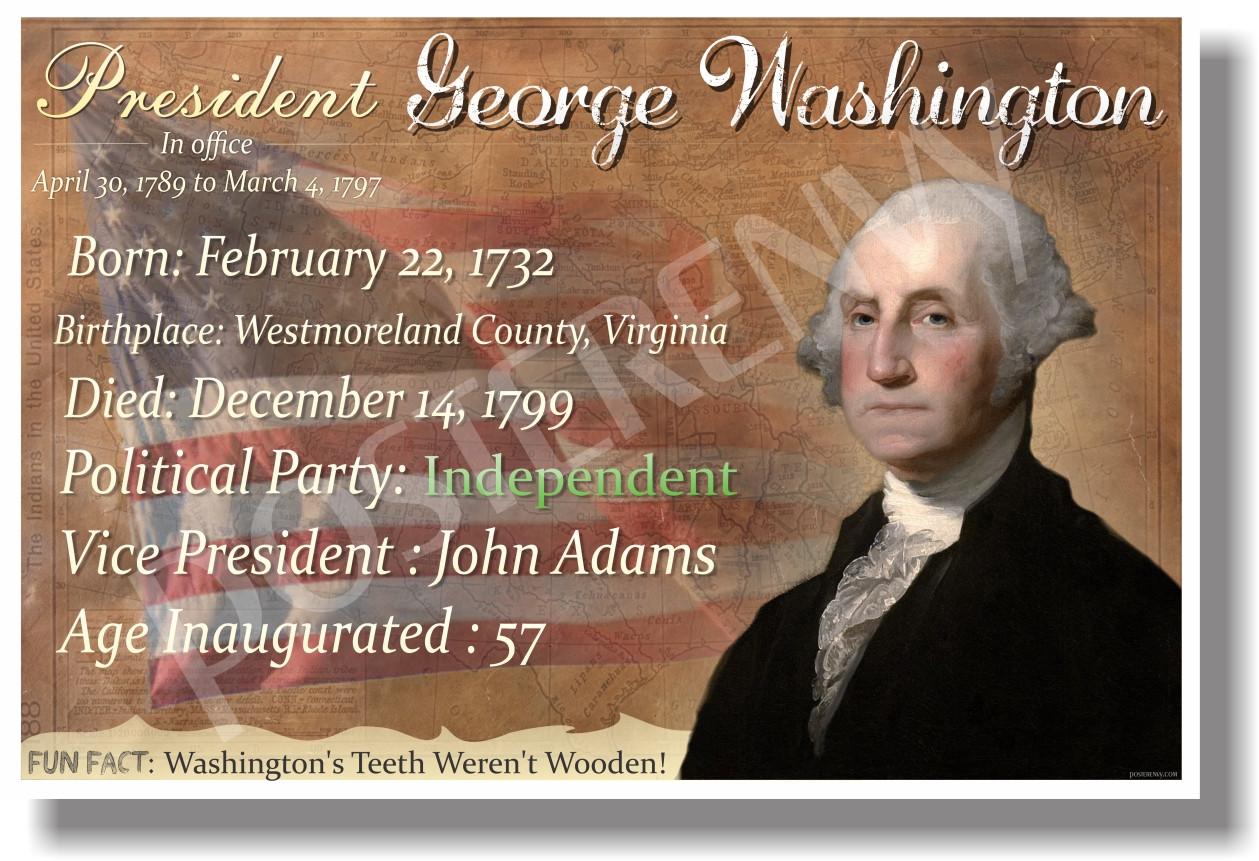 presidential series u s president george washington new social studies poster