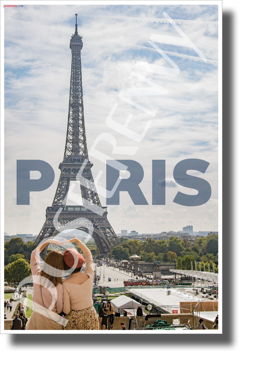 eiffel tower paris france new world travel art poster