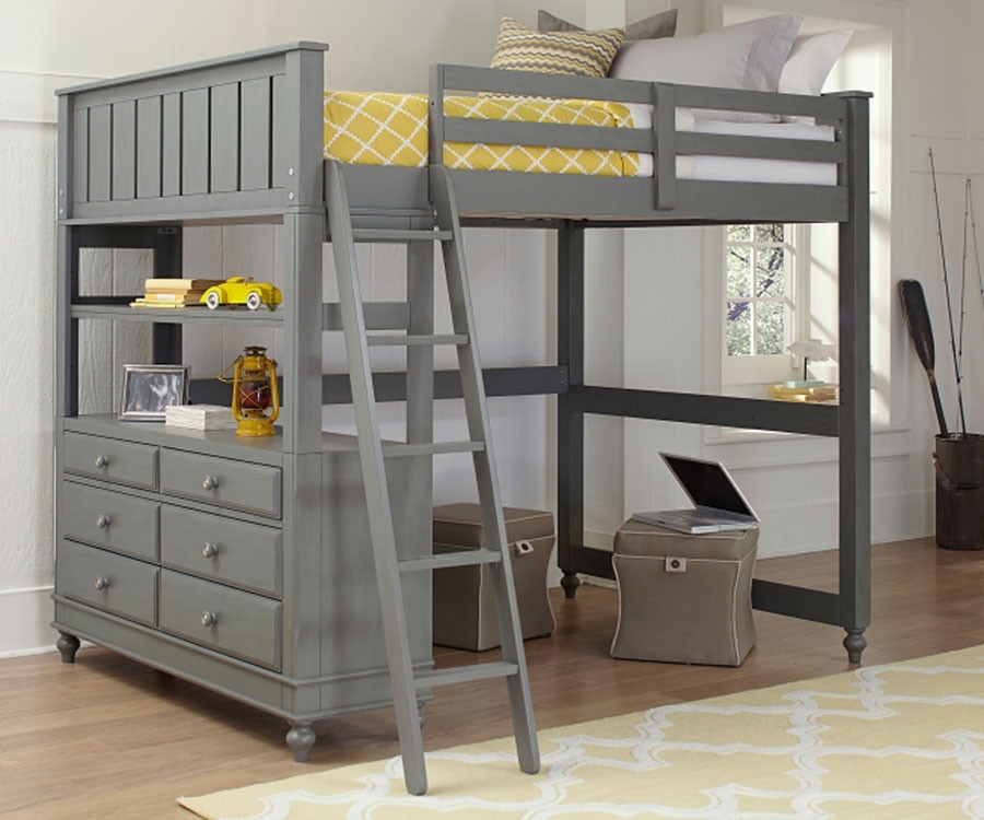 2045 Full Size Loft Bed Lakehouse Collection Stone