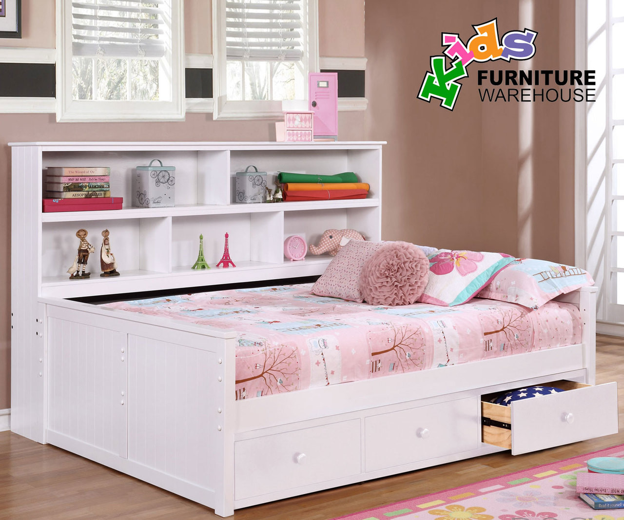 Full Size Bookcase Captains Daybed White Allen House Kids Captains Beds And Daybeds