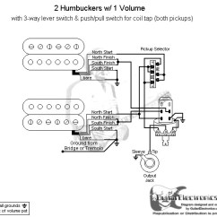 Strat Wiring Diagram 3 Way Switch Agile Development 2 Humbuckers Lever 1 Volume Coil Tap Click To Enlarge