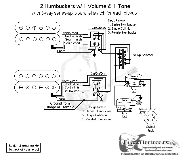 guitar wiring diagram 2 pickup 1 volume tone 1999 buick century schematic 35 humbuckers 3 way lever switch series split click to enlarge
