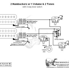 Wiring Three Way Switch Diagram Msd 6al Mustang 5 0 2 Humbuckers 3 Lever 1 Volume Tones Click To Enlarge