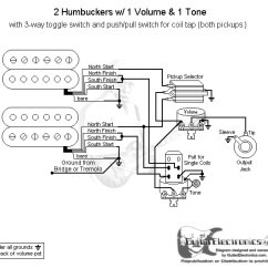 Guitar Wiring Diagram 2 Pickup 1 Volume Tone 2016 Dodge Ram 1500 Stereo Humbuckers 3 Way Toggle Switch Coil Tap Click To Enlarge