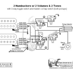 Strat Wiring Diagram 3 Way Switch Gfs P90 2 Humbuckers Toggle Volumes Tones Coil Tap Click To Enlarge