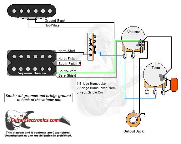 les paul wiring diagram coil split viper 4103 1 humbucker/1 single coil/3-way lever switch/1 volume/1 tone/00 - guitarelectronics.com