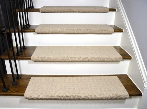 Dean Quadrille Aged Linen Tape Free Bullnose Carpet Stair | Dean Bullnose Stair Treads