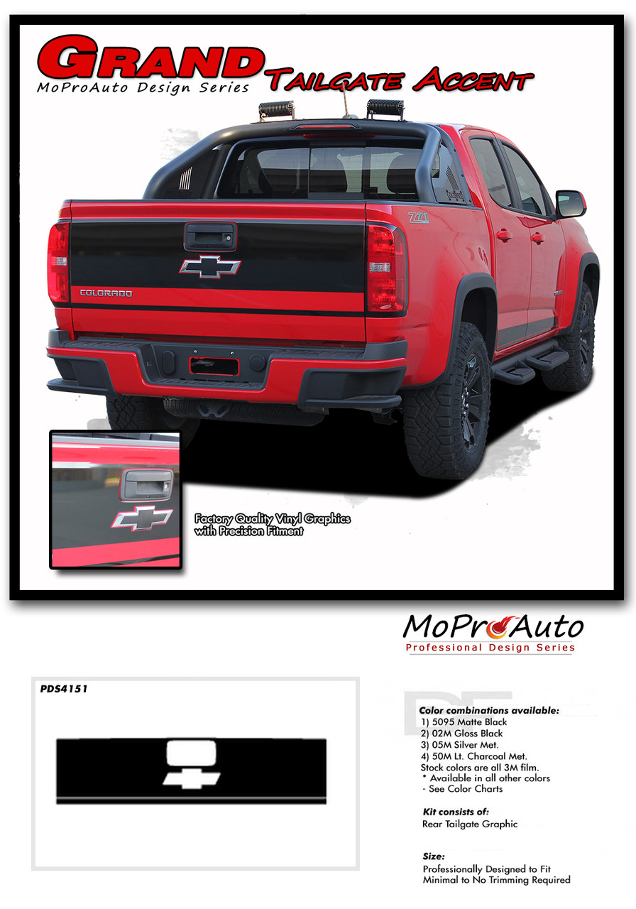 grand 2015 2016 2017 2018 2019 chevy colorado rear tailgate blackout accent vinyl graphic package  [ 896 x 1280 Pixel ]