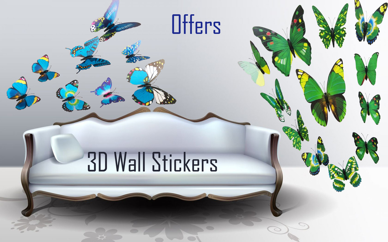 Christmas Sale Upto 50 Off 3d Butterfly Wall Stickers With Magnet Attractive Designs For Decoration Of Room Bedroom Tv Fridge Blue Green Pattern